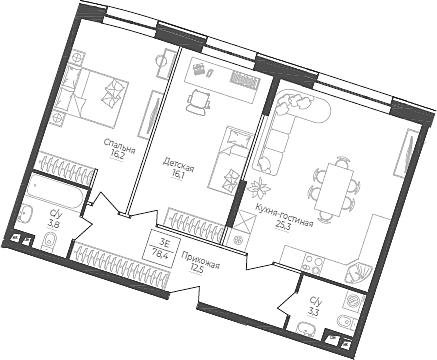 3Е-комнатная, 78.4 м²– 2