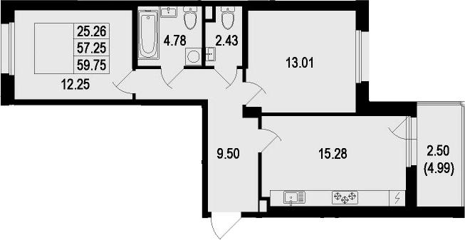 3Е-комнатная, 59.75 м²– 2