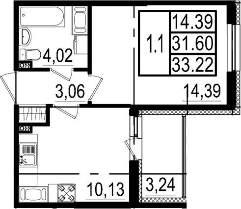 1-к.кв, 34.84 м²