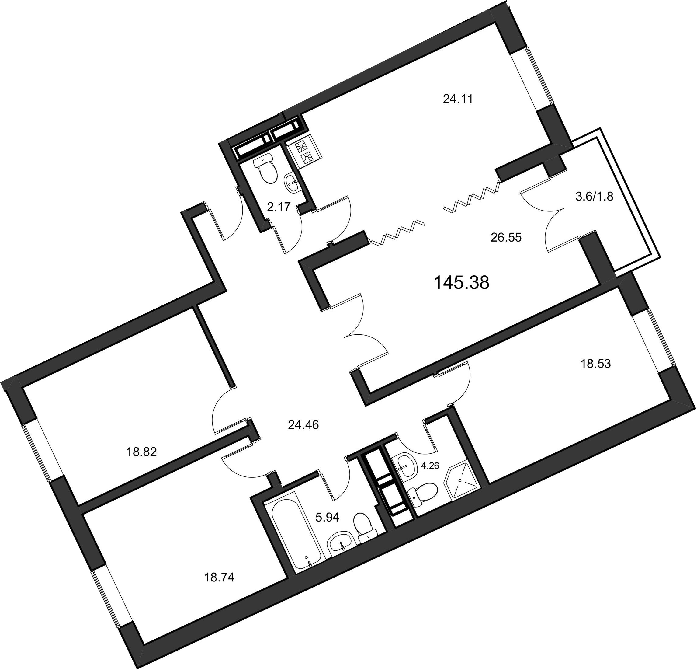 4-к.кв, 145.2 м²