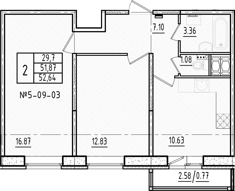 2-комнатная, 52.64 м²– 2