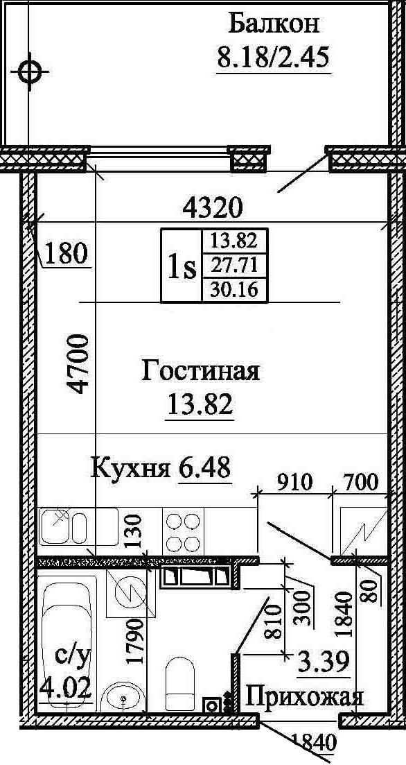 Студия, 30.16 м², 3 этаж – Планировка