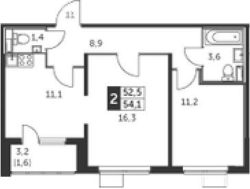 2-комнатная, 54.1 м²– 2