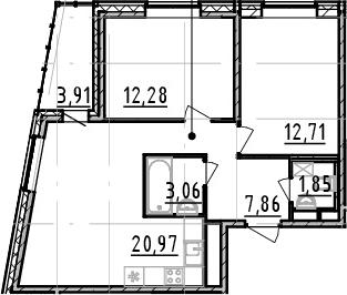 2-к.кв, 58.73 м², 2 этаж