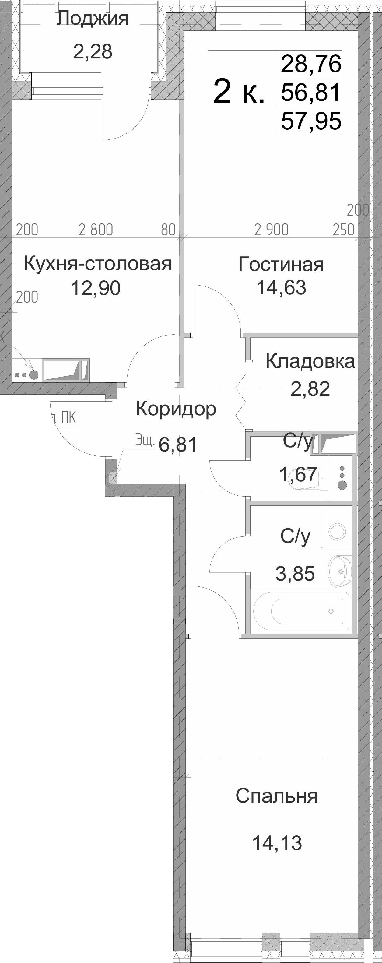 2-к.кв, 57.95 м²