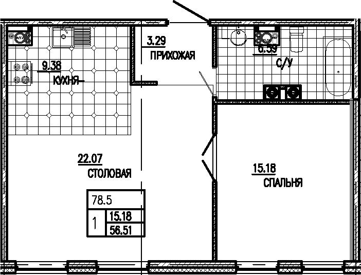 2Е-к.кв, 56.51 м²