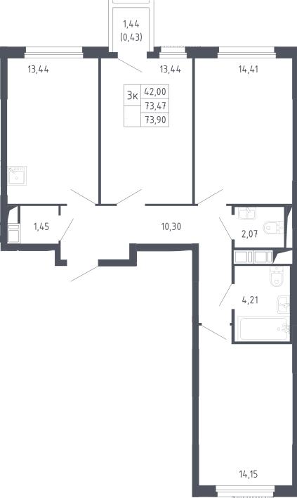 3-к.кв, 73.9 м²