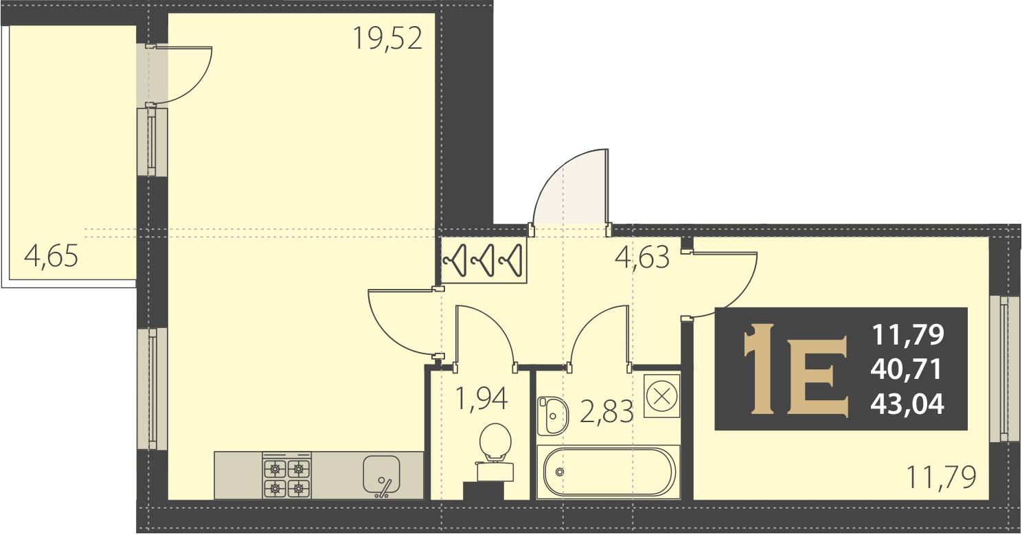 2Е-комнатная, 43.04 м²– 2