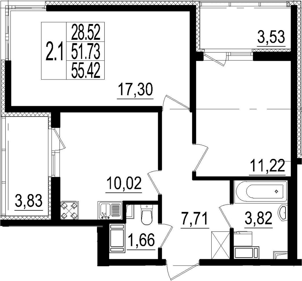 2-комнатная, 51.73 м²– 2