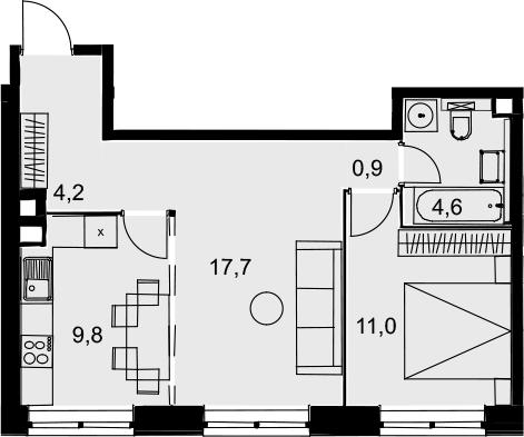 2-комнатная, 48.2 м²– 2
