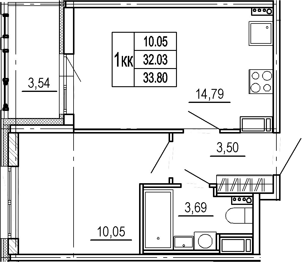 2Е-к.кв, 32.03 м²