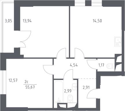 2-к.кв, 55.67 м²
