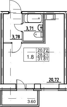 Студия, 28.21 м²