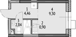 Студия, 17.5 м²