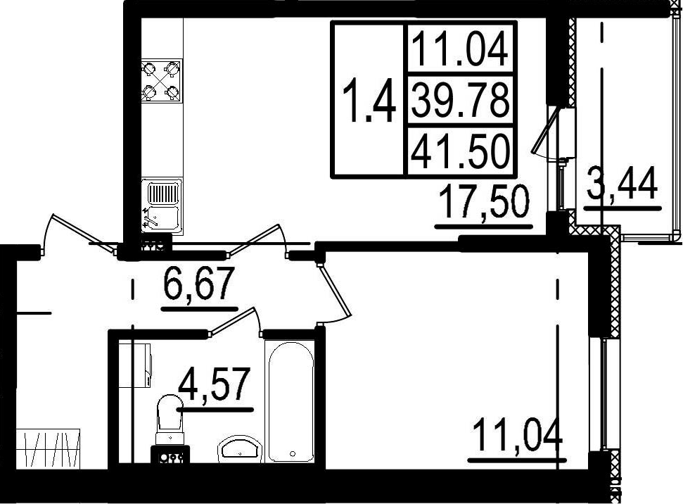 2-к.кв (евро), 43.22 м²