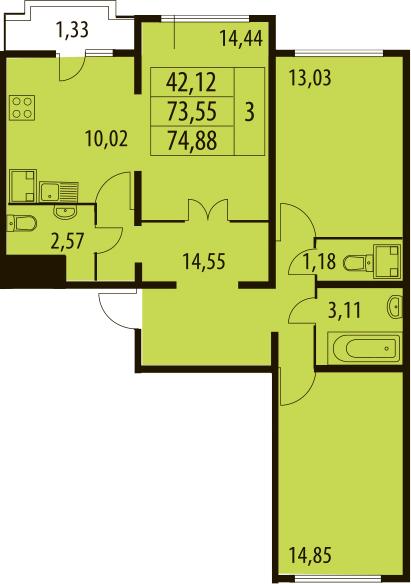 3-к.кв, 76.21 м²