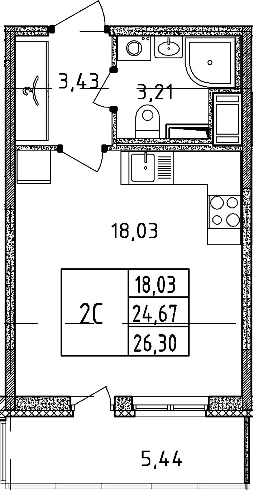 Студия, 24.67 м², 11 этаж