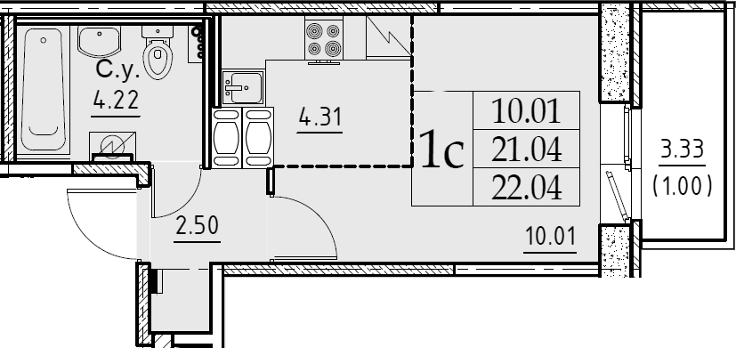 Студия, 22.04 м²– 2