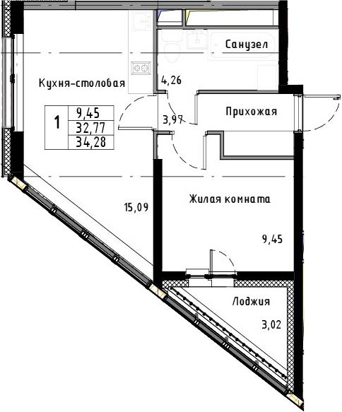 2-к.кв (евро), 35.79 м²