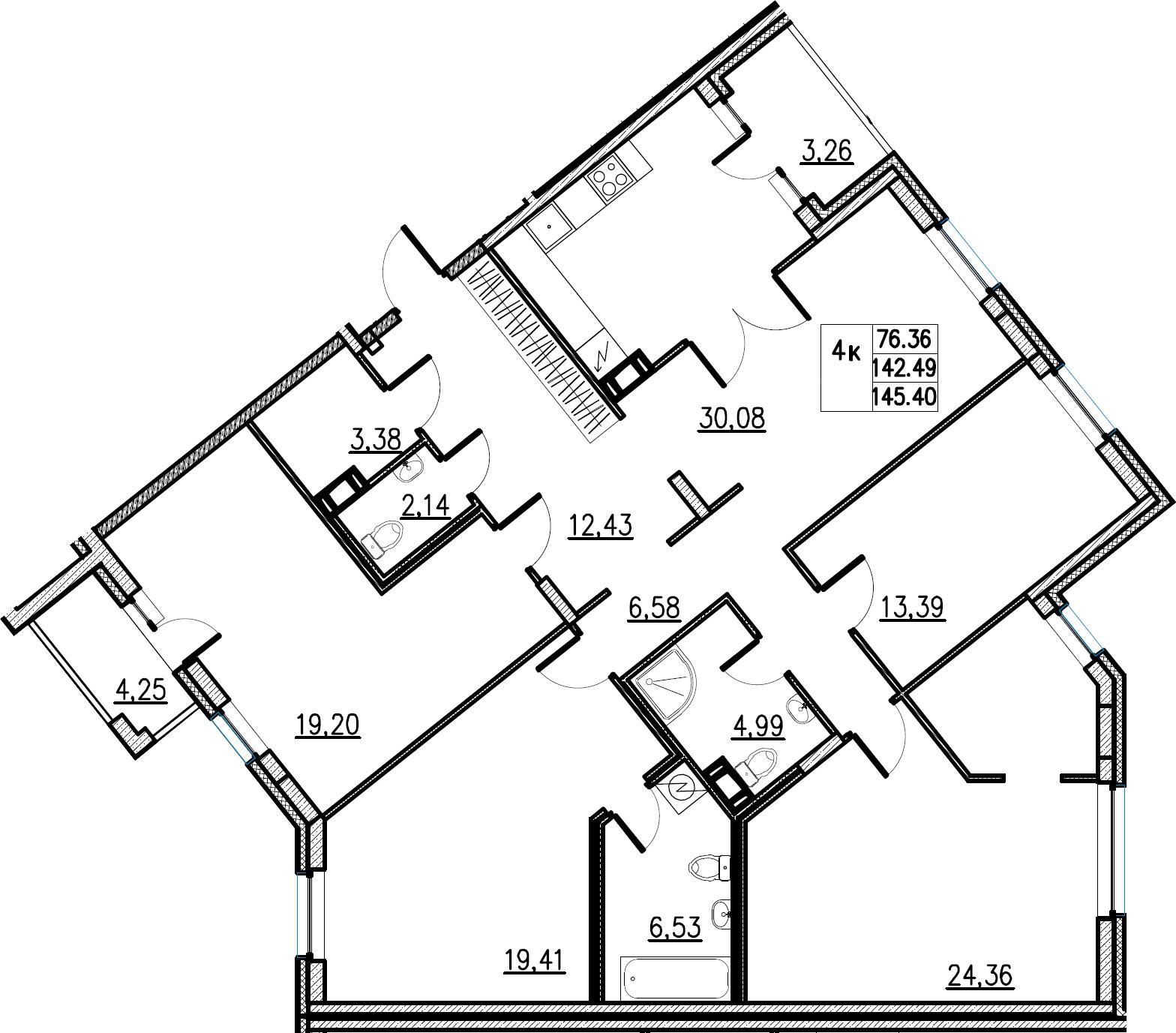 5Е-комнатная, 145.4 м²– 2