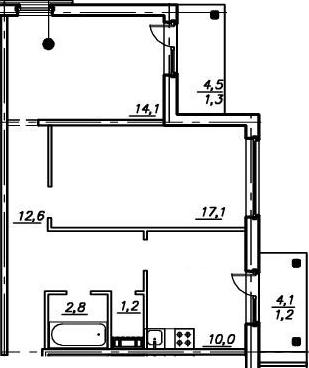 2-к.кв, 66.13 м²