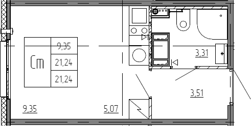 Студия, 21.24 м²– 2