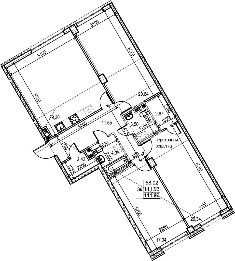 4Е-к.кв, 111.93 м², 2 этаж