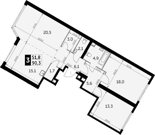 3-к.кв, 90.3 м²