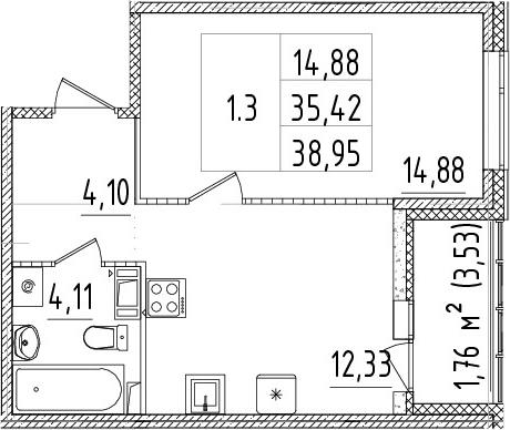1-к.кв, 35.42 м², 6 этаж