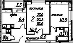 2-к.кв, 53.65 м²