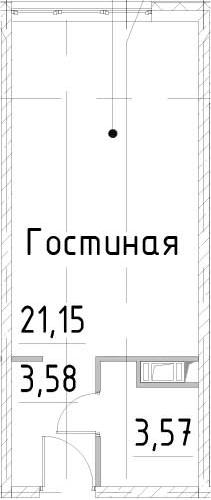 Студия, 28.3 м²