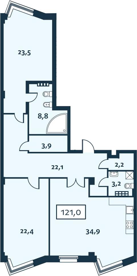 3Е-к.кв, 120.96 м²