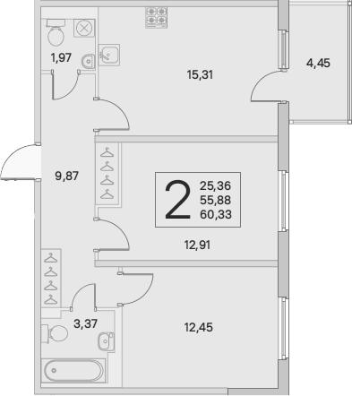 3Е-комнатная, 57.22 м²– 2