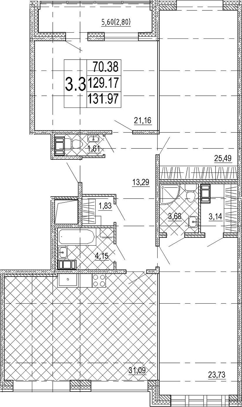 4Е-комнатная, 131.97 м²– 2