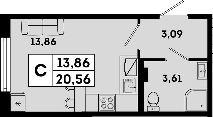 Студия, 20.56 м²