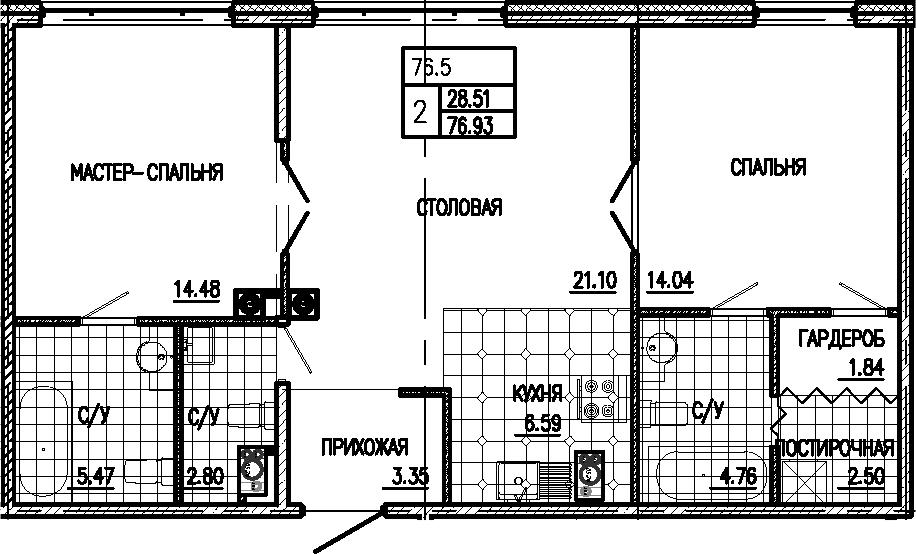 3-к.кв (евро), 76.93 м²