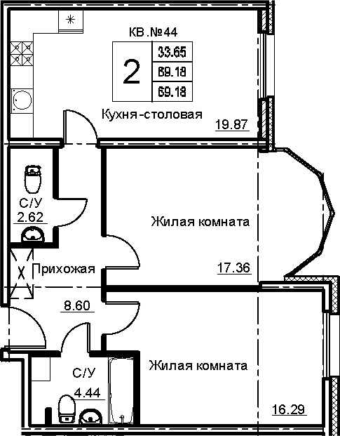 3Е-к.кв, 69.18 м²