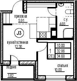2Е-комнатная, 34.68 м²– 2
