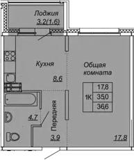 1-к.кв, 36.6 м², 2 этаж