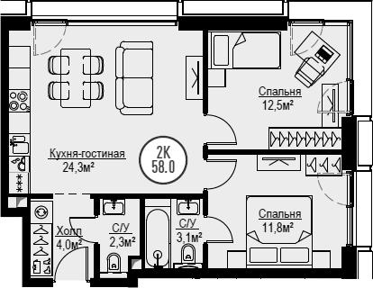 3Е-комнатная, 58 м²– 2