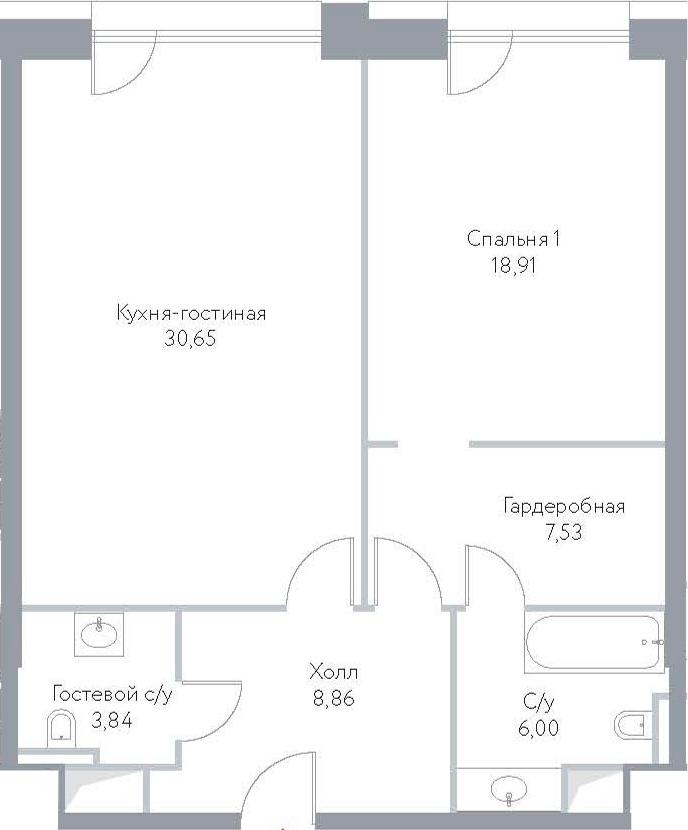 2Е-комнатная, 75.79 м²– 2