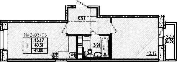 2-к.кв (евро), 42.61 м²