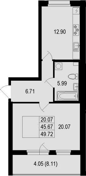 1-к.кв, 49.72 м²