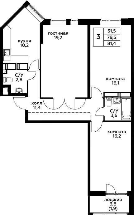 3-к.кв, 81.4 м²
