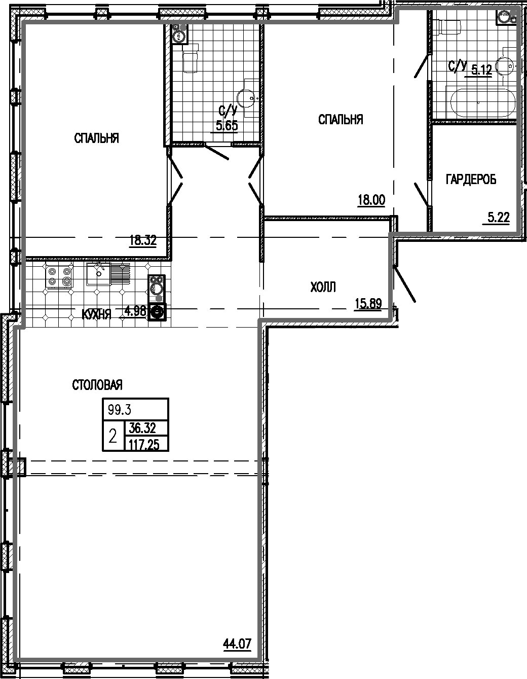 3Е-к.кв, 117.25 м²