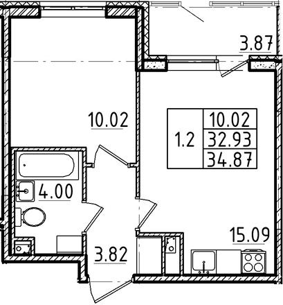 2Е-к.кв, 32.93 м²