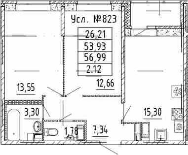 3Е-к.кв, 53.93 м²