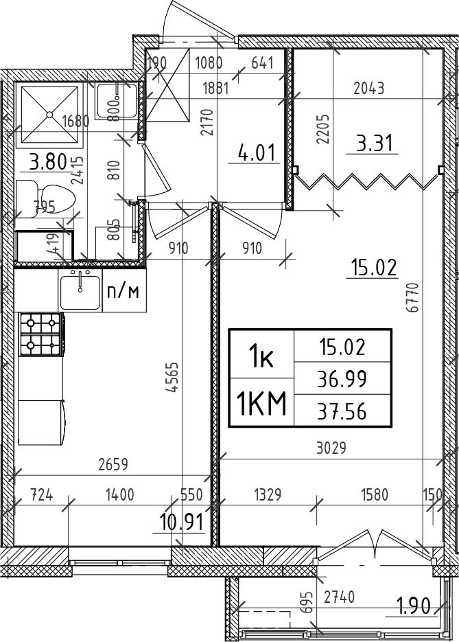1-к.кв, 36.99 м²