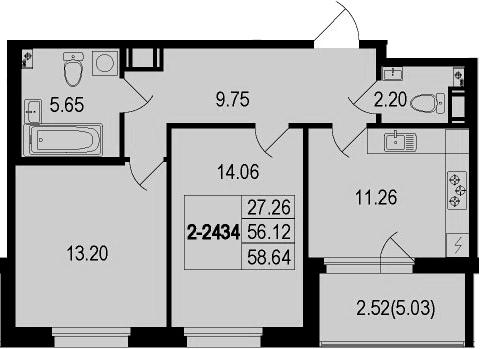 2-к.кв, 61.16 м²