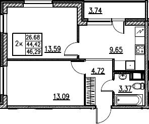 2-комнатная, 46.29 м²– 2